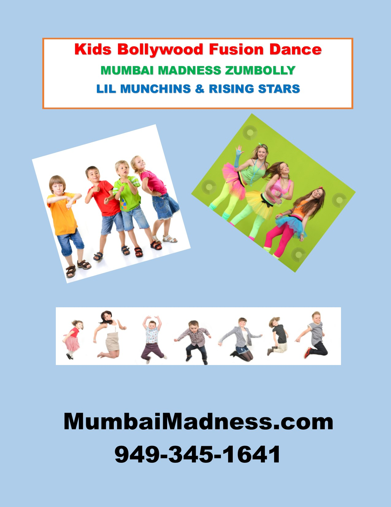 Mumbai Madness ZumBolly Bollywood Dance Fusion Kids Class Flyer