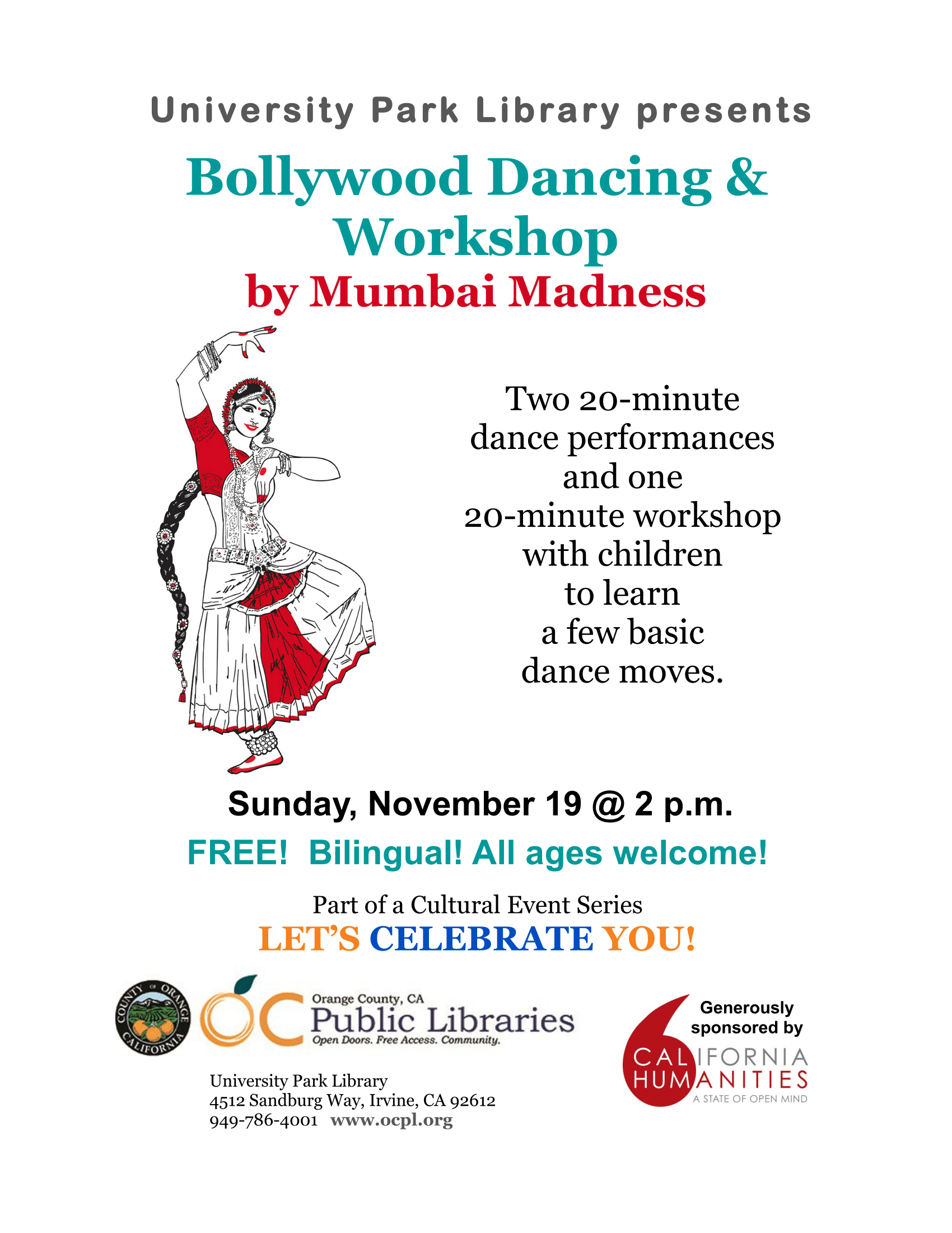 Mumbai Madness Bollywood Dancing & Workshop 11-19-2017 University Park Library Irvine Orange County