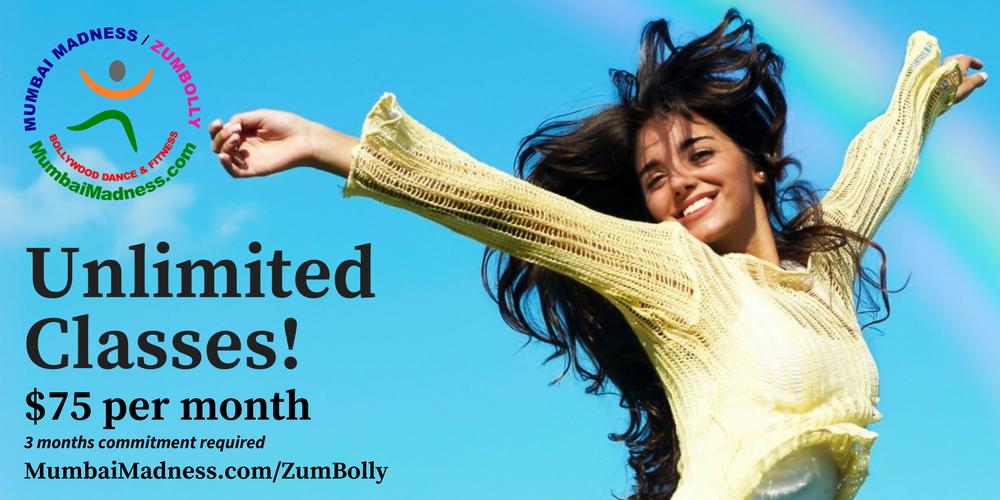 Mumbai Madness ZumBolly Irvine Tustin Orange County Unlimited Classes Bollywood Dance Fitness