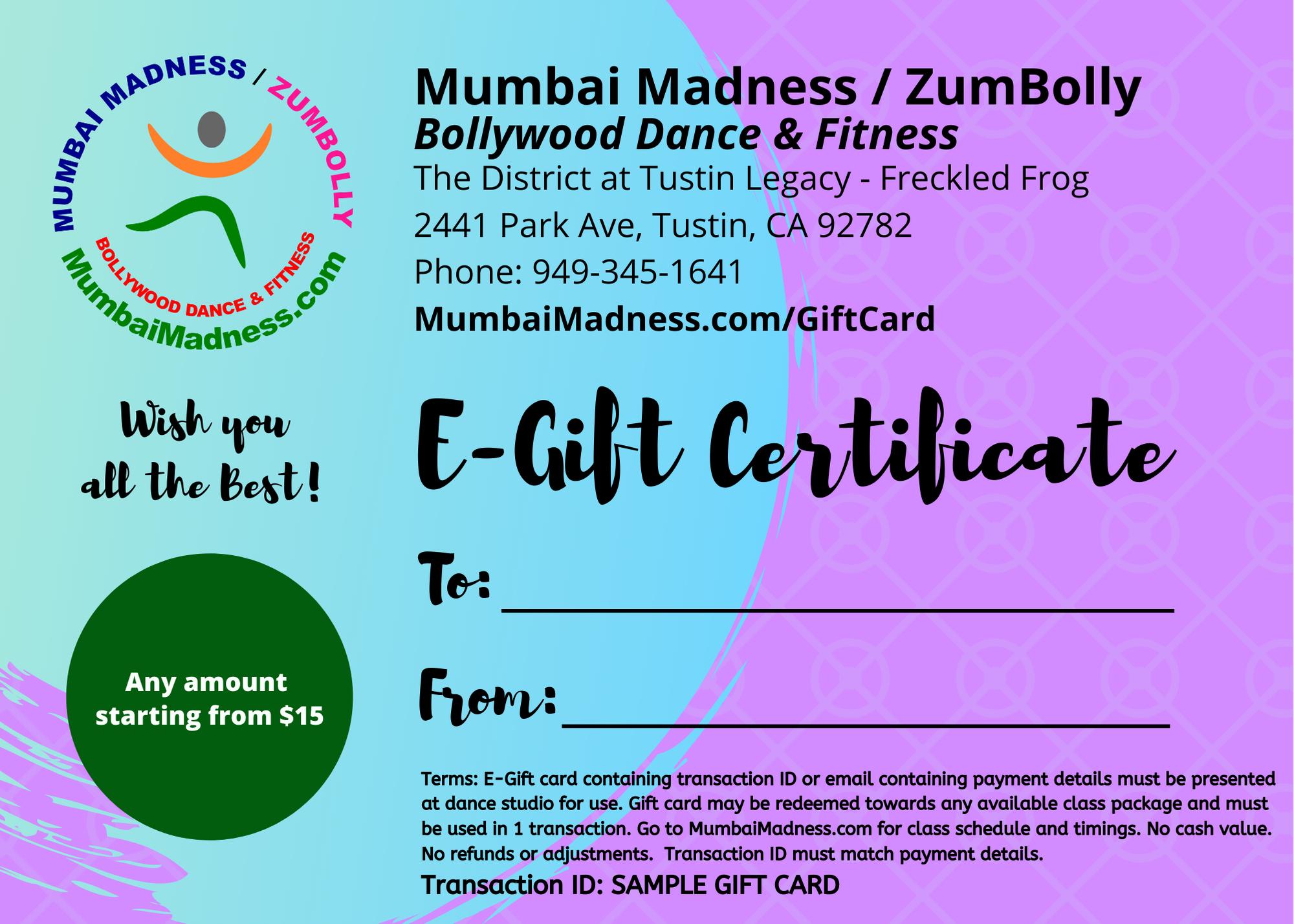 Mumbai Madnezz ZumBolly E-Gift Card